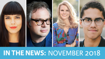 "Speakers in the News in November 2018 featuring Lital Marom, Steven Page, Michele Romanow, and Manu ""Swish"" Goswami"