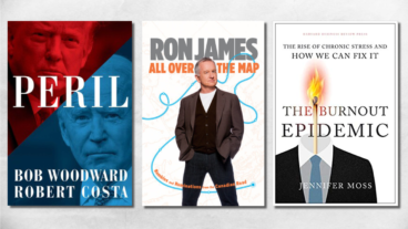 Book covers of new books by Bob Woodward, Ron James, and Jennifer Moss